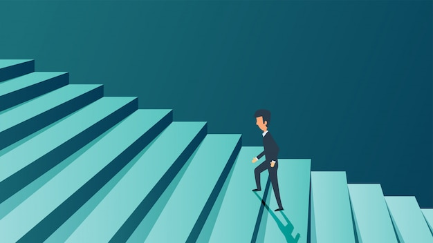 Concepto de éxito carrera empresario. ambición futura