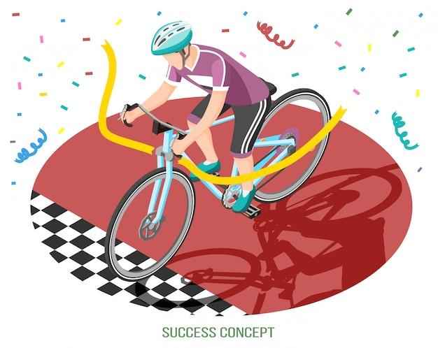 Concepto de éxito composición isométrica con carácter humano de ciclista cruzando la línea de meta con texto editable