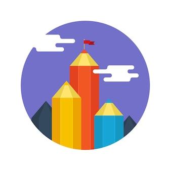 Concepto de éxito creativo. logro de metas, montaña con bandera. diseño plano, ilustración vectorial.