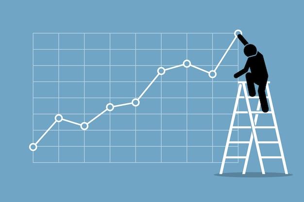 Concepto de éxito financiero, mercado de valores alcista, buenas ventas, ganancias y crecimiento empresarial.