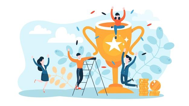 Concepto de éxito. ganar en competición. obteniendo recompensa