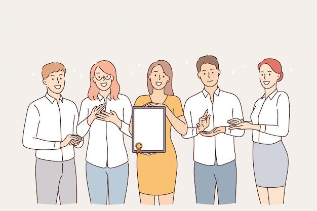 Concepto de éxito y logro del trabajo en equipo