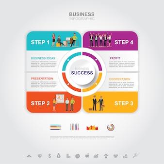 Concepto de éxito de negocio infografía empresarial con gráfico