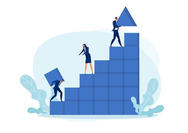 Concepto de éxito del trabajo en equipo empresarial. metáfora del equipo. ilustración de negocios de trabajo en equipo, estilo de diseño plano de negocios. símbolo de trabajo en equipo, negocios, cooperación, crecimiento gráfico de asociación