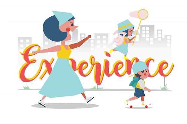 Concepto de experiencia, la madre llevó a su hijo y su hija a jugar fuera, diseño de personajes de dibujos animados de estilo plano