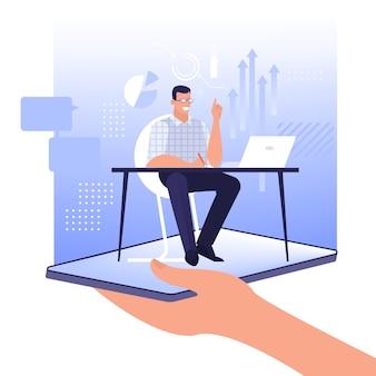 Concepto de experto en línea. asistente sentado en el escritorio.