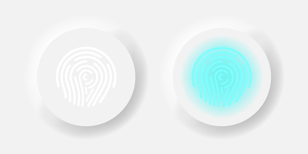 Concepto de exploración de neumorfismo de vector de botón de huella digital. ilustración de diseño de interfaz de usuario de contraseña de dedo.