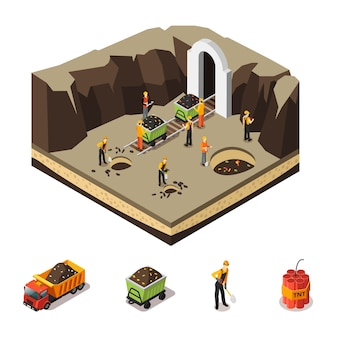 Concepto de extracción de carbón isométrica