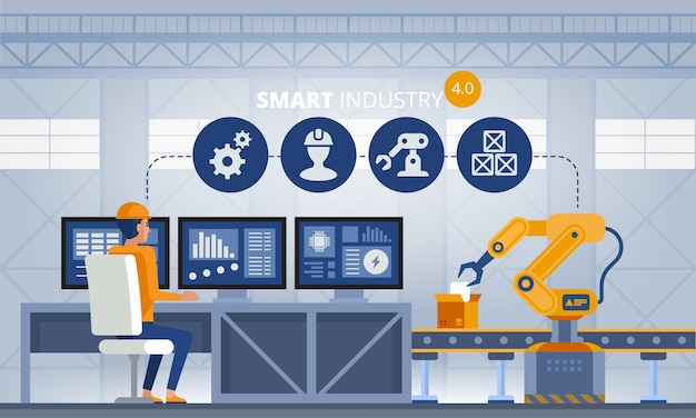 Concepto de fábrica inteligente de la industria 4.0. trabajadores, brazos robóticos y línea de montaje. ilustración de tecnología