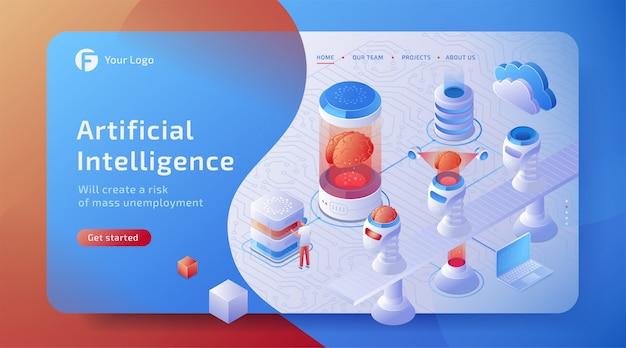 Concepto de fábrica de máquinas de inteligencia artificial isométrica 3d (ai) con cerebro digital. tecnología del futuro.