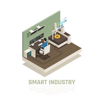 Concepto de fabricación inteligente con ilustración isométrica de símbolos de operación y tecnología