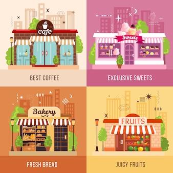 Concepto de fachadas de tiendas
