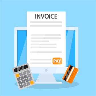 Concepto de factura en línea. firma del documento financiero que contiene la factura. términos de pago. plano