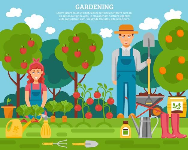 Concepto de familia del agricultor