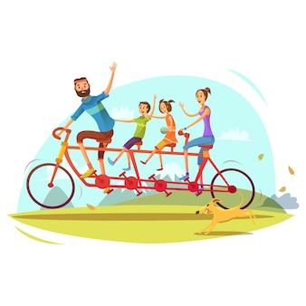 Concepto de familia y bicicleta de dibujos animados con padres hijo e hija ilustración vectorial