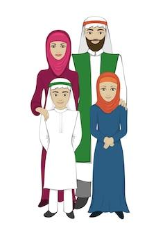 Concepto de familia musulmana, estilo plano.