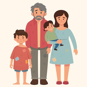 Concepto de familia pobre, padre, madre y niños en mal estado.