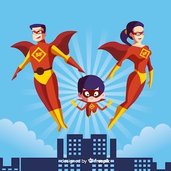 Concepto de familia de superheroes