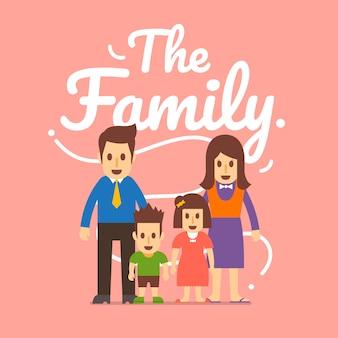 Concepto de familia tener padre, madre e hijos. ilustraciones.