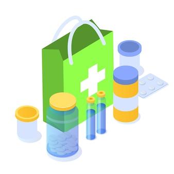 Concepto de farmacia. icono de medicina plano isométrico