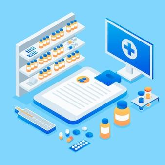 Concepto de farmacia isométrica