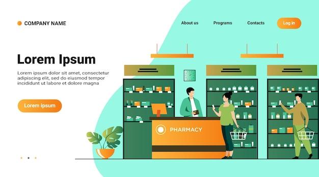 Concepto de farmacia o tienda médica. personas que compran medicamentos en la farmacia, consultan al farmacéutico en la caja registradora, eligen medicamentos en el escaparate