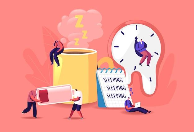Concepto de fatiga. ilustración de pequeños personajes masculinos y femeninos agotados.