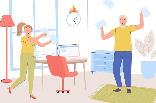 Concepto de fecha límite los empleados asustados no completan sus tareas laborales a tiempo