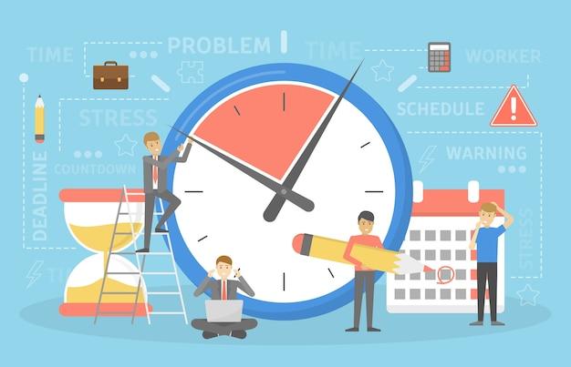 Concepto de fecha límite. idea de mucho trabajo y poco tiempo. empleado con prisa. pánico y estrés. ilustración vectorial plana