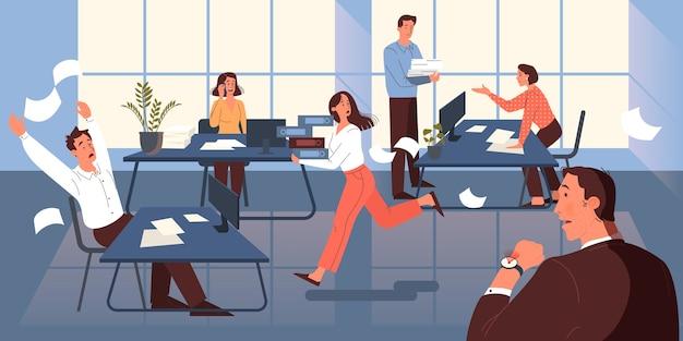 Concepto de fecha límite. idea de mucho trabajo y poco tiempo. empleado con prisa. pánico y estrés en la oficina. problemas comerciales. ilustración