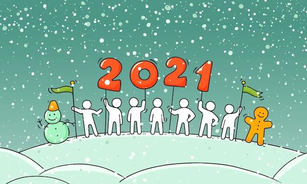 Concepto de feliz año nuevo 2020. ilustración de dibujos animados doodle con gente pequeña se prepara para la celebración. vector dibujado a mano para diseño navideño.