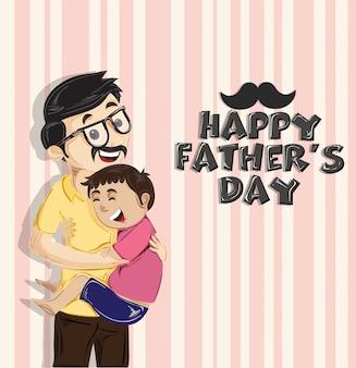 Concepto feliz de la celebración del día de padre con el hijo que abraza a su padre en fondo del vintage.