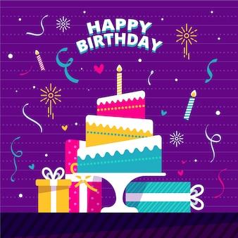 Concepto de feliz cumpleaños de diseño plano