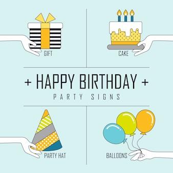 Concepto de feliz cumpleaños: elementos de fiesta en estilo de línea