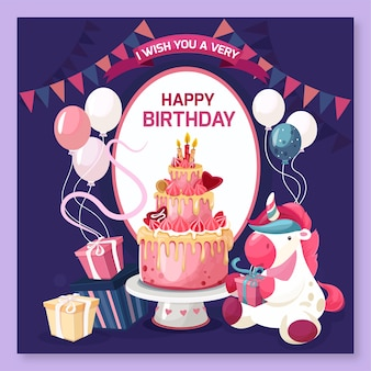 Concepto de feliz cumpleaños con pastel y regalos