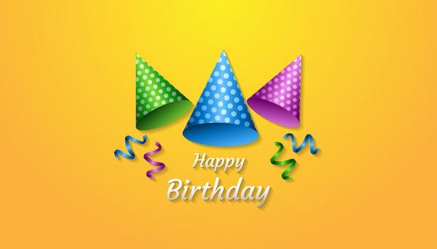 Concepto de feliz cumpleaños con sombrero de fiesta realista, cinta, confeti y texto
