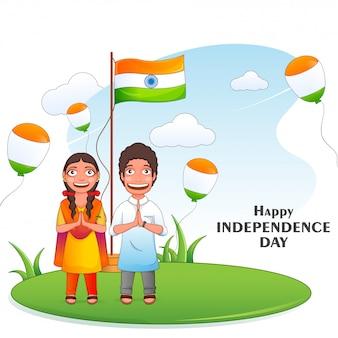 Concepto de feliz día de la independencia, niños de dibujos animados haciendo namaste con escenario de bandera india o podio y globos tricolores volando sobre fondo verde y cielo.