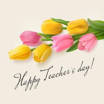 Concepto de feliz día del maestro con ramo de tulipanes rosas y amarillos y felicitaciones