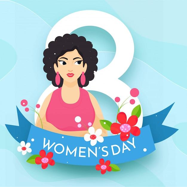 Concepto de feliz día de la mujer con 8 números, flores y carácter de niña sobre fondo azul.