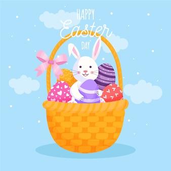 Concepto de feliz día de pascua plana con conejo