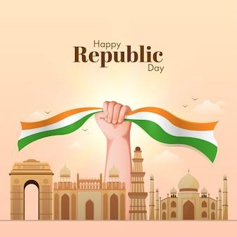 Concepto de feliz día de la república con mano sujetando cinta tricolor y monumentos famosos de la india