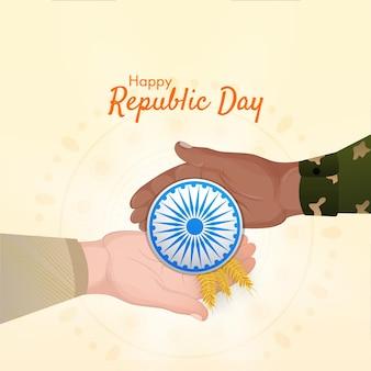 Concepto de feliz día de la república con manos humanas sosteniendo la rueda de ashoka
