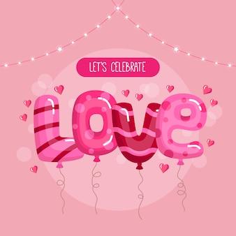 Concepto de feliz día de san valentín. globos en forma de texto de amor en la pancarta rosa