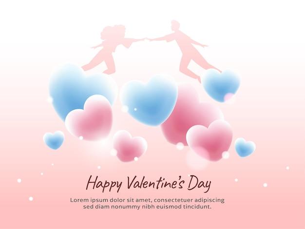 Concepto de feliz día de san valentín con silueta pareja volando y corazones brillantes sobre fondo rosa claro.