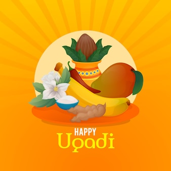 Concepto de feliz día de ugadi dibujado a mano