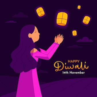 Concepto de feliz diwali en diseño plano