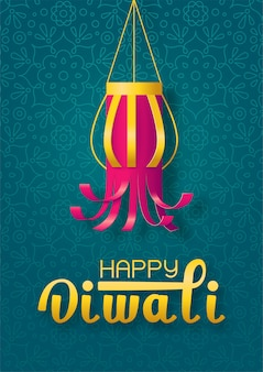 Concepto feliz diwali con linterna de papel hecho a mano sobre fondo verde con mandala