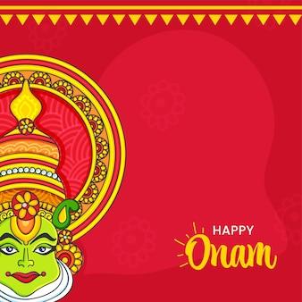Concepto feliz del festival de onam con la cara del bailarín de kathakali en fondo rojo.