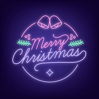 Concepto de feliz navidad con diseño de neón