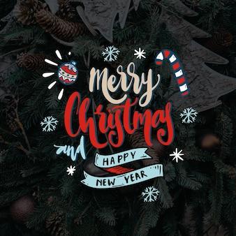 Concepto de feliz navidad letras